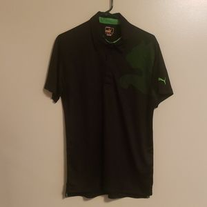 *Puma* Mens Golf Polo~ Black/Green Logo~ Sz Med